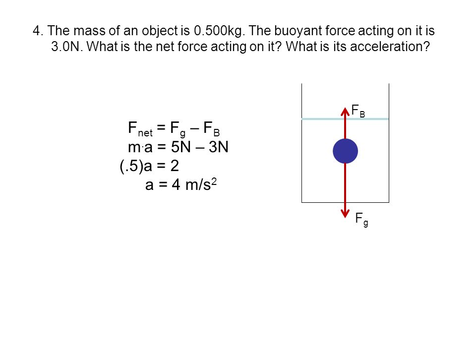 4. The mass of an object is 0.500kg. The buoyant force acting on it is