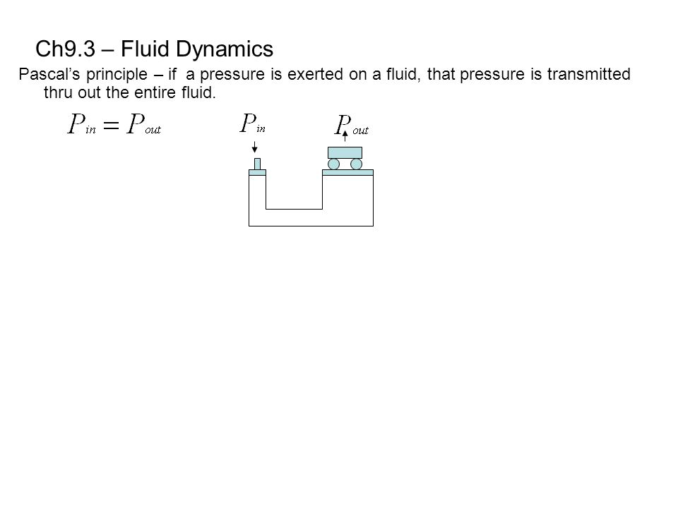 Ch9.3 – Fluid Dynamics Pascal's principle – if a pressure is exerted on a fluid, that pressure is transmitted thru out the entire fluid.