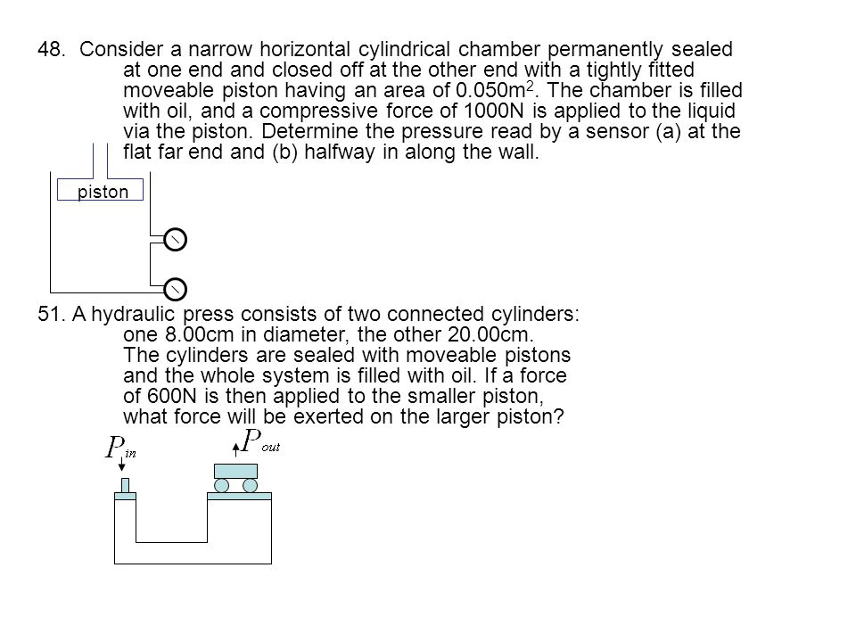 48. Consider a narrow horizontal cylindrical chamber permanently sealed