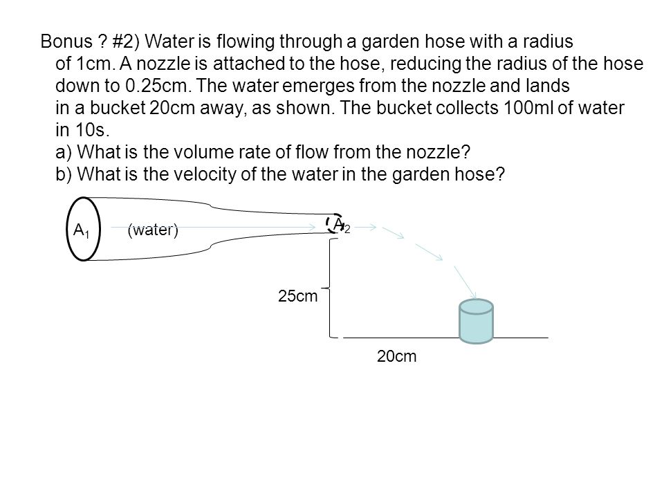 Bonus #2) Water is flowing through a garden hose with a radius
