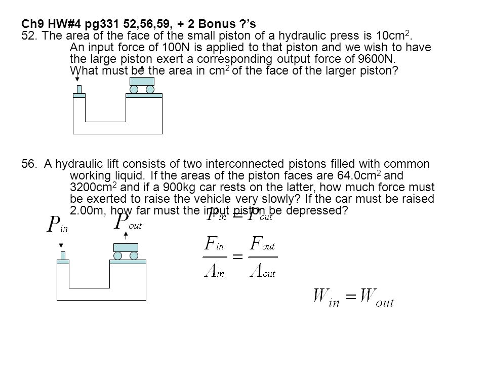 Ch9 HW#4 pg331 52,56,59, + 2 Bonus 's 52. The area of the face of the small piston of a hydraulic press is 10cm2.