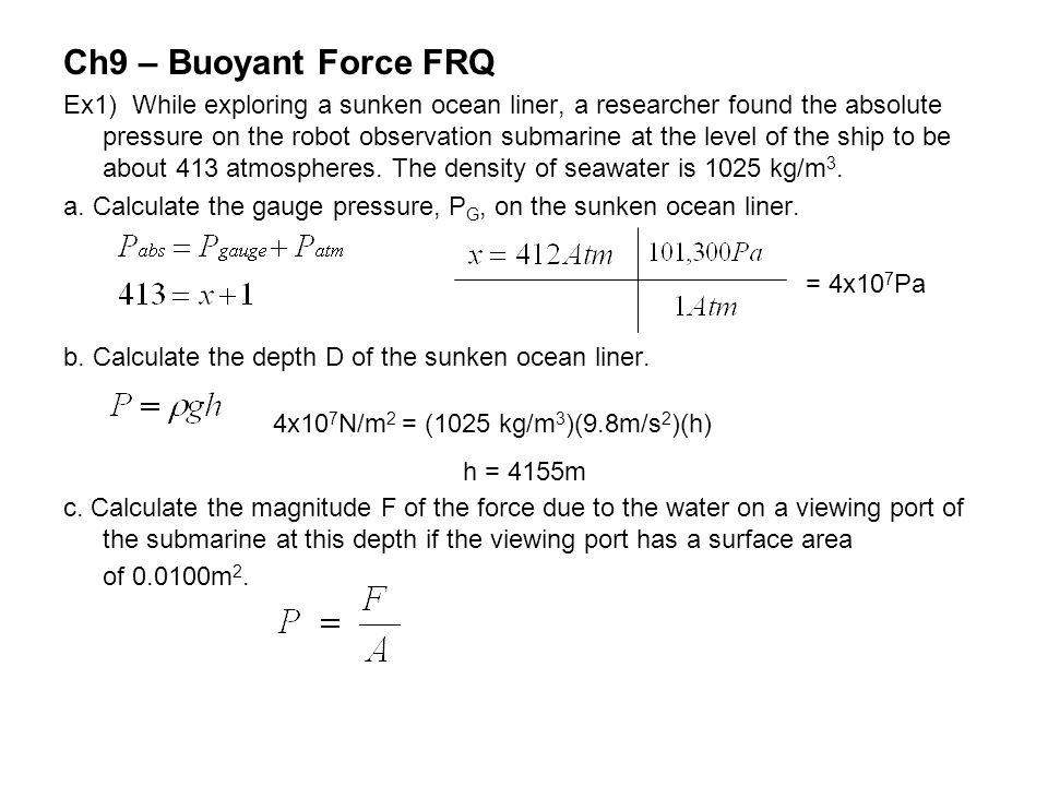Ch9 – Buoyant Force FRQ