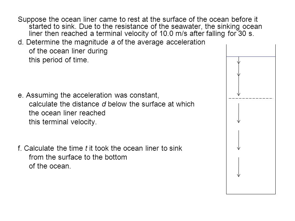Suppose the ocean liner came to rest at the surface of the ocean before it started to sink. Due to the resistance of the seawater, the sinking ocean liner then reached a terminal velocity of 10.0 m/s after falling for 30 s.