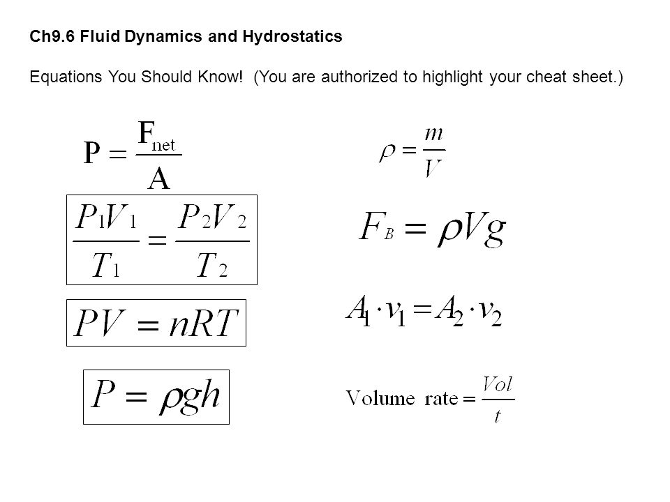 Ch9.6 Fluid Dynamics and Hydrostatics