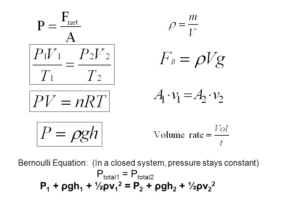 Bernoulli Equation: (In a closed system, pressure stays constant)