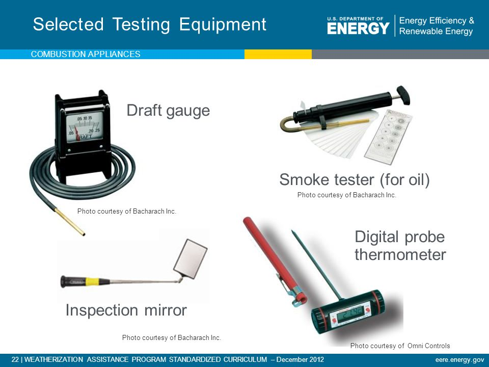 Selected Testing Equipment