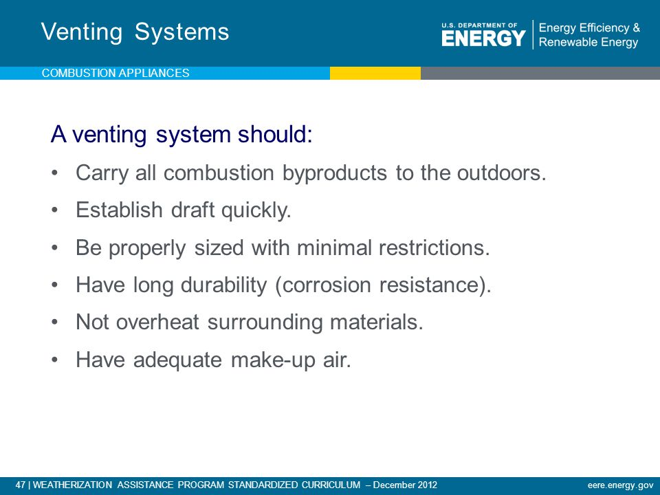 A venting system should: