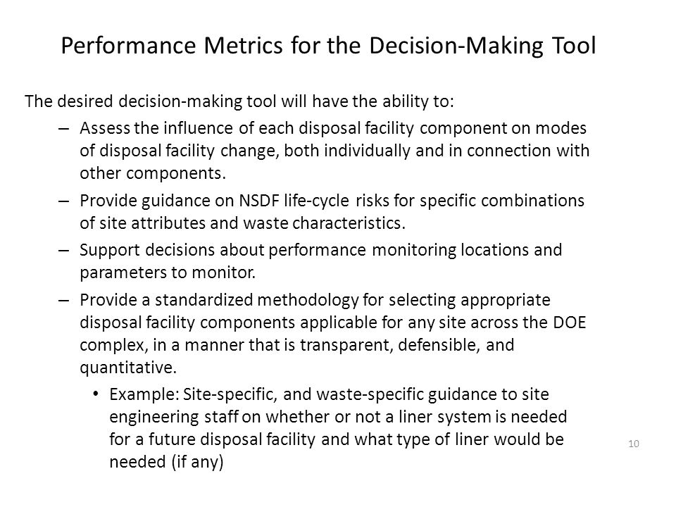 Performance Metrics for the Decision-Making Tool