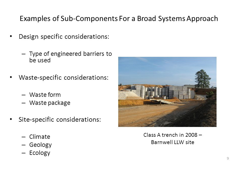 Examples of Sub-Components For a Broad Systems Approach