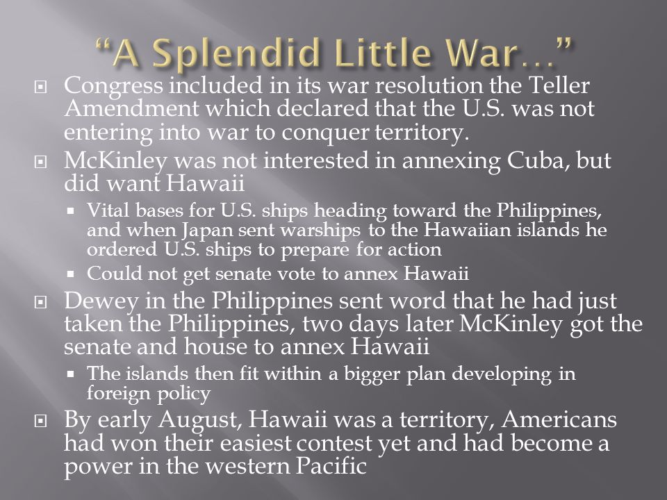A Splendid Little War…
