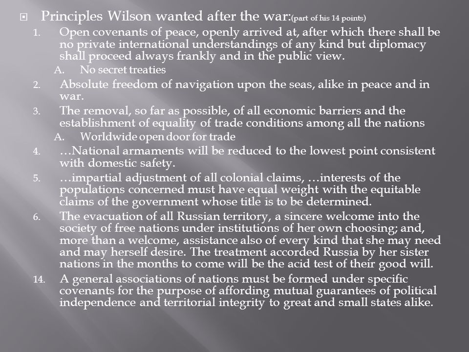 Principles Wilson wanted after the war:(part of his 14 points)