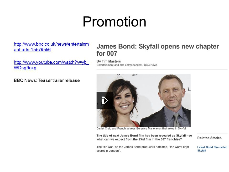 Promotion http://www.bbc.co.uk/news/entertainment-arts-15579556 http://www.youtube.com/watch v=yb_WDsg9oxg BBC News: Teaser trailer release