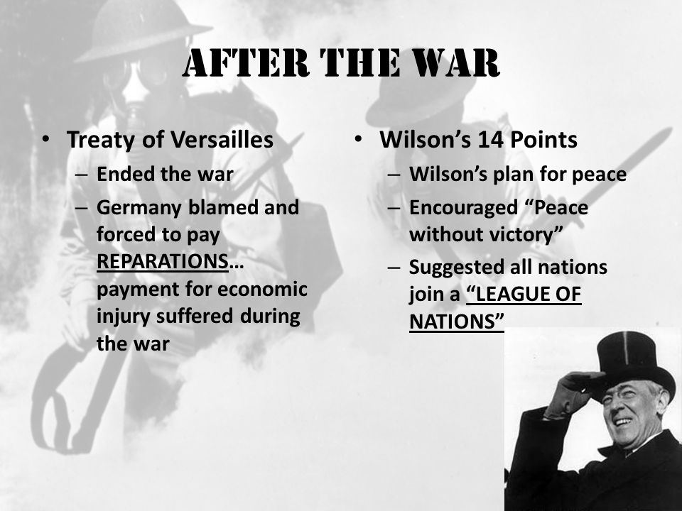 After the War Treaty of Versailles Wilson's 14 Points Ended the war