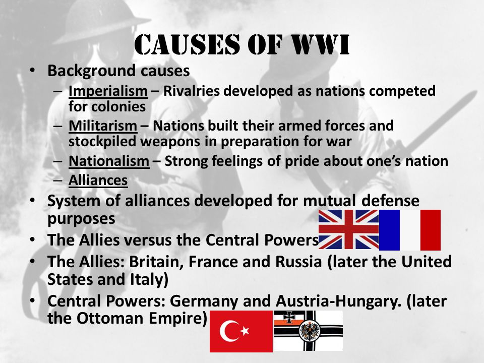 Causes of WWI Background causes