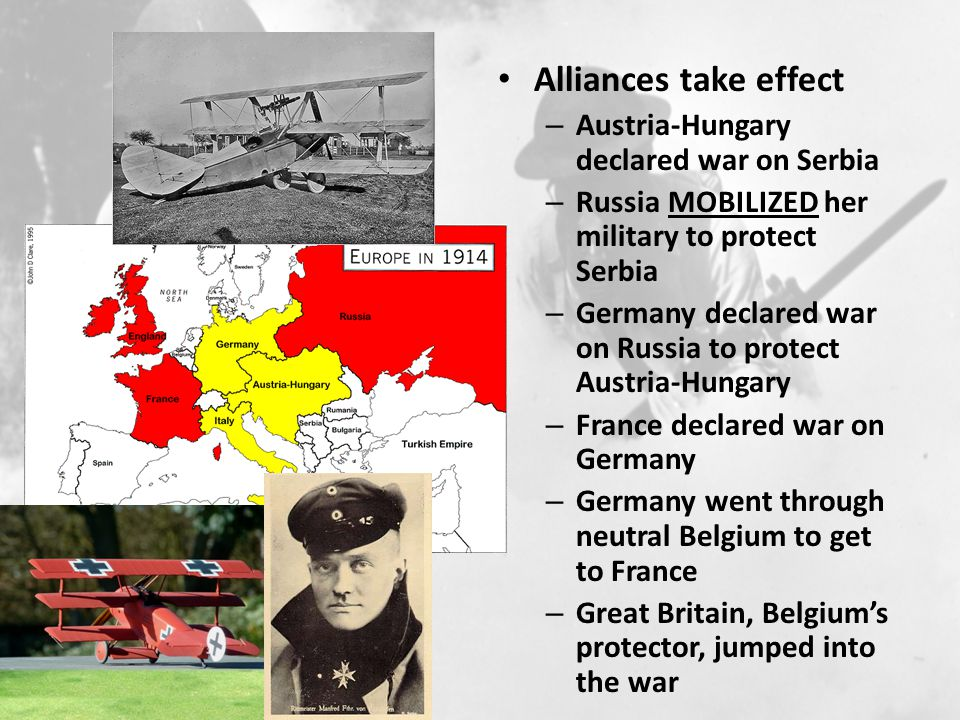 Alliances take effect Austria-Hungary declared war on Serbia
