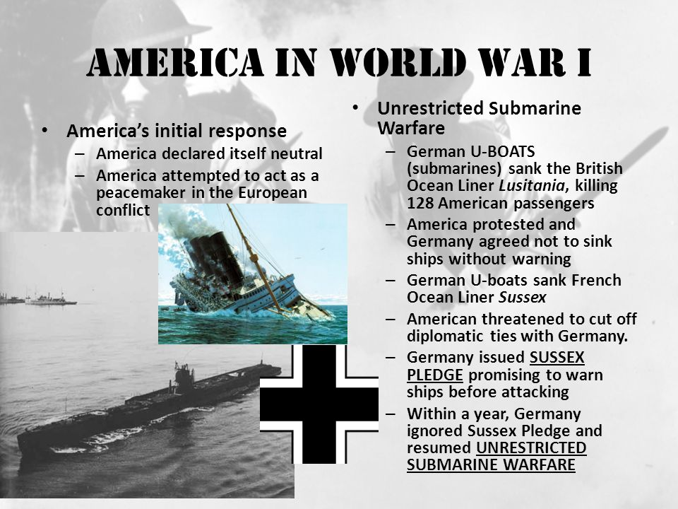 America In World War I Unrestricted Submarine Warfare