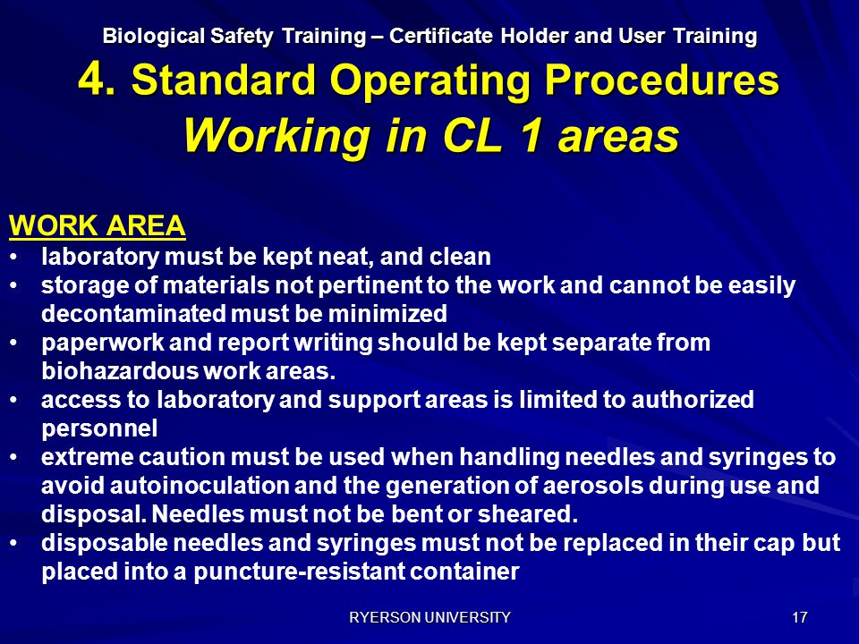WORK AREA laboratory must be kept neat, and clean