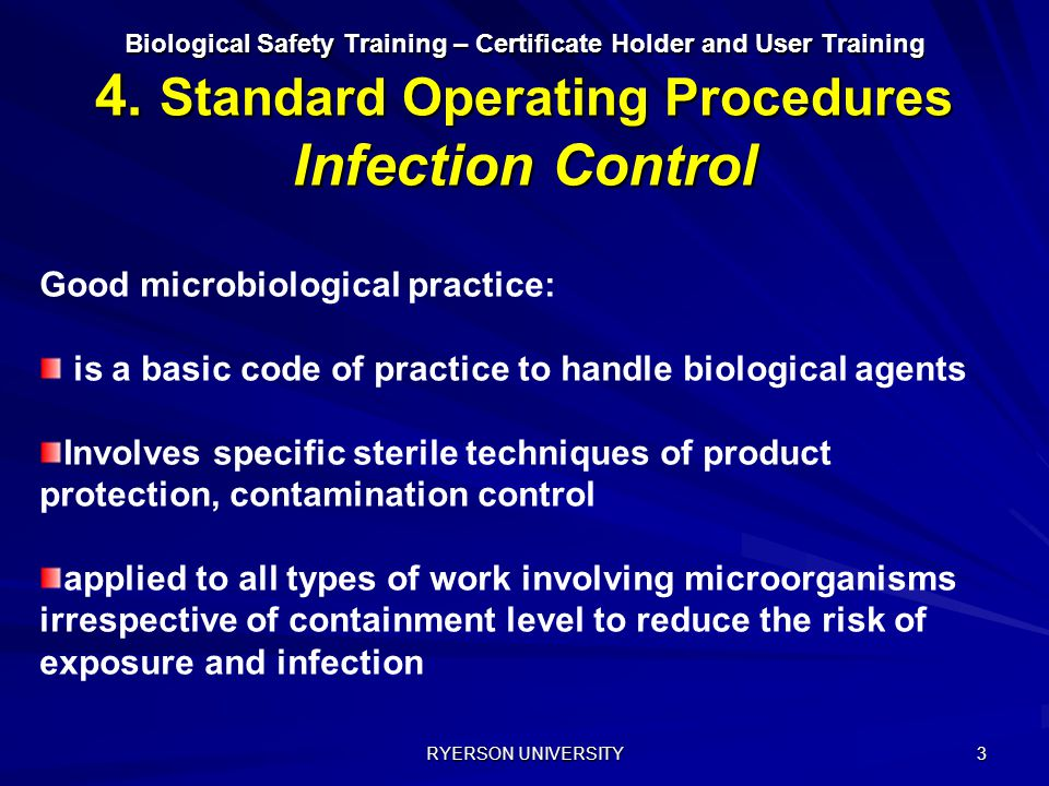Good microbiological practice: