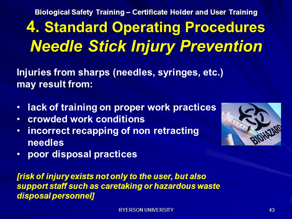 Injuries from sharps (needles, syringes, etc.) may result from: