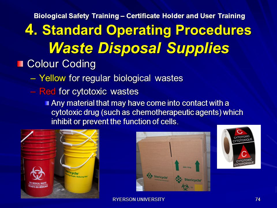 Colour Coding Yellow for regular biological wastes