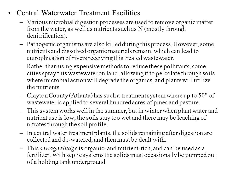 Central Waterwater Treatment Facilities