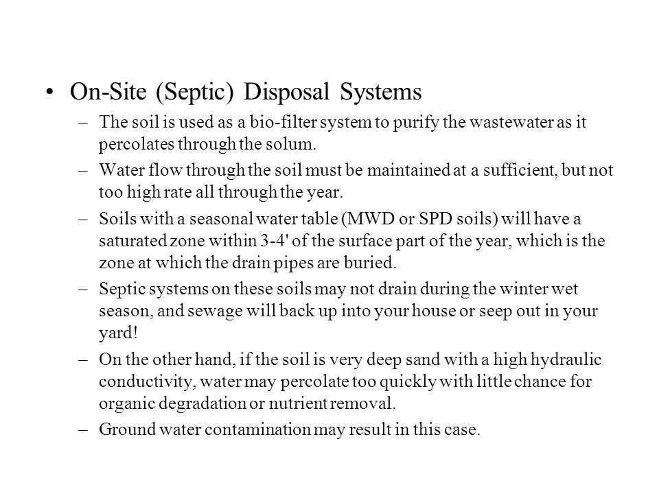 On-Site (Septic) Disposal Systems