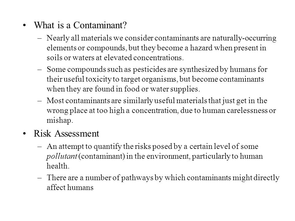 What is a Contaminant Risk Assessment