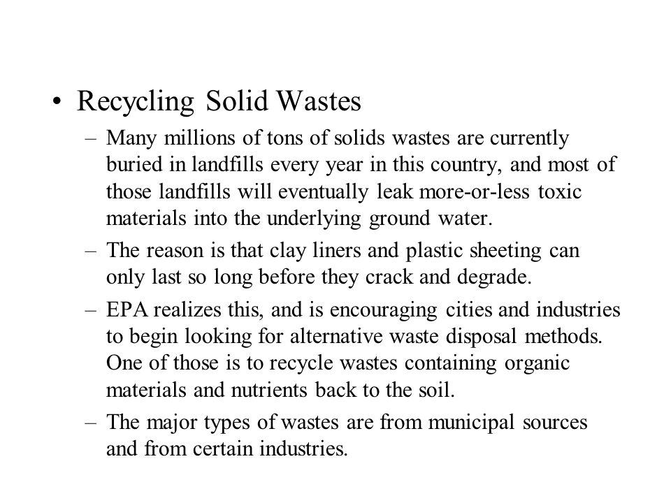 Recycling Solid Wastes