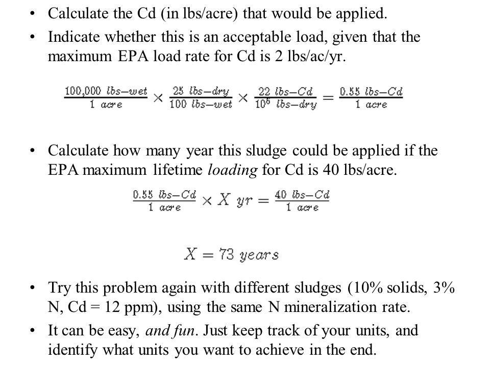 Calculate the Cd (in lbs/acre) that would be applied.