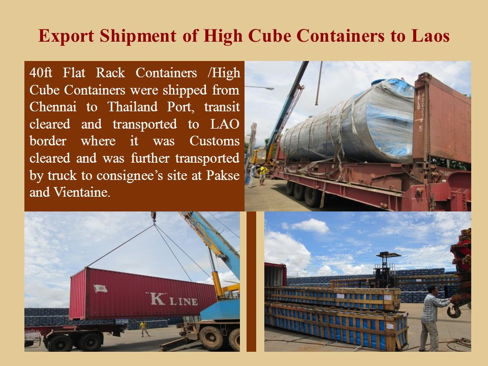 Export Shipment of High Cube Containers to Laos