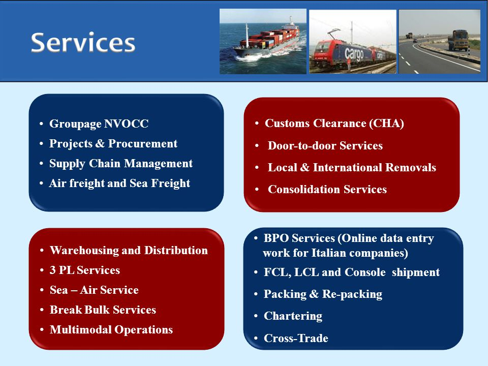 Services Groupage NVOCC Customs Clearance (CHA) Projects & Procurement