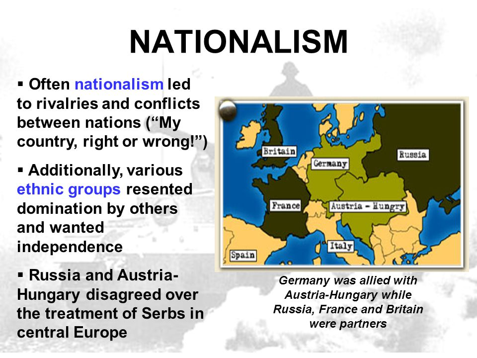 NATIONALISM Often nationalism led to rivalries and conflicts between nations ( My country, right or wrong! )