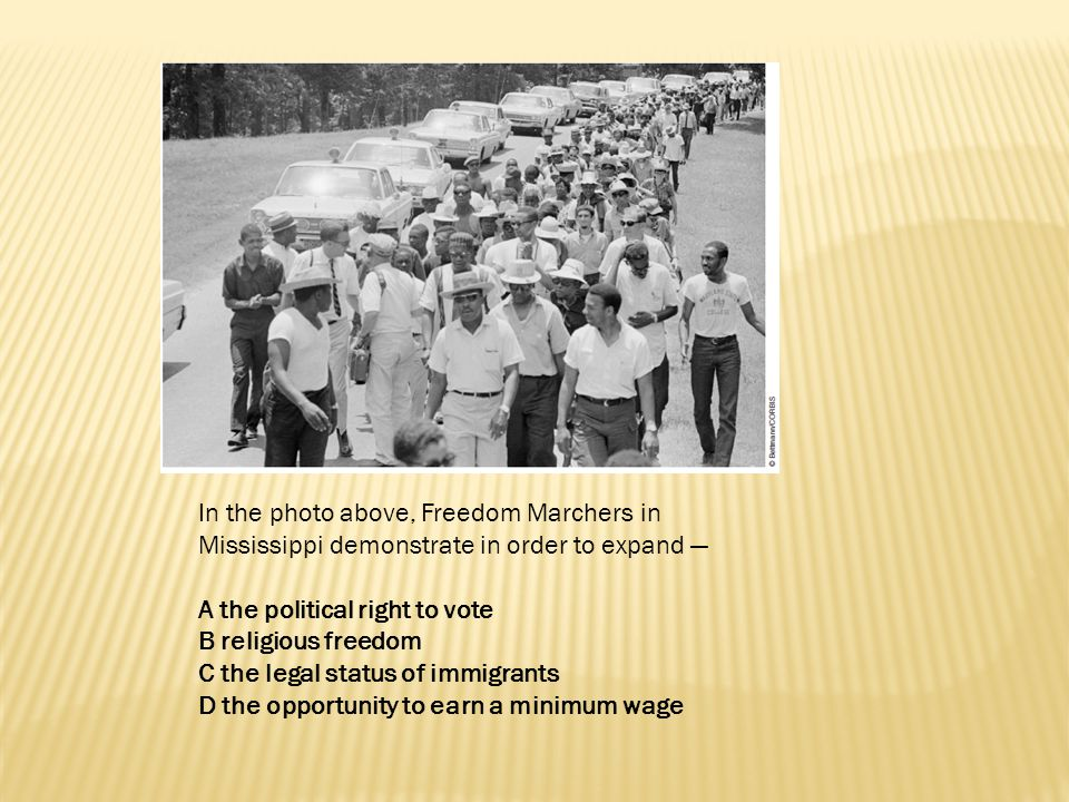 In the photo above, Freedom Marchers in Mississippi demonstrate in order to expand —