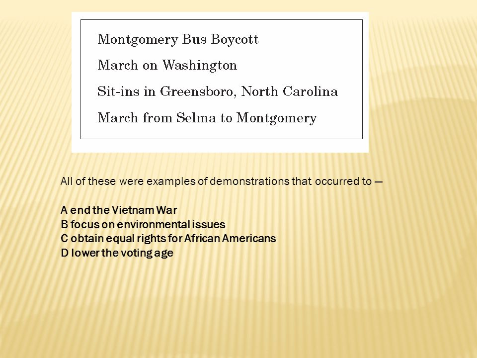 All of these were examples of demonstrations that occurred to —