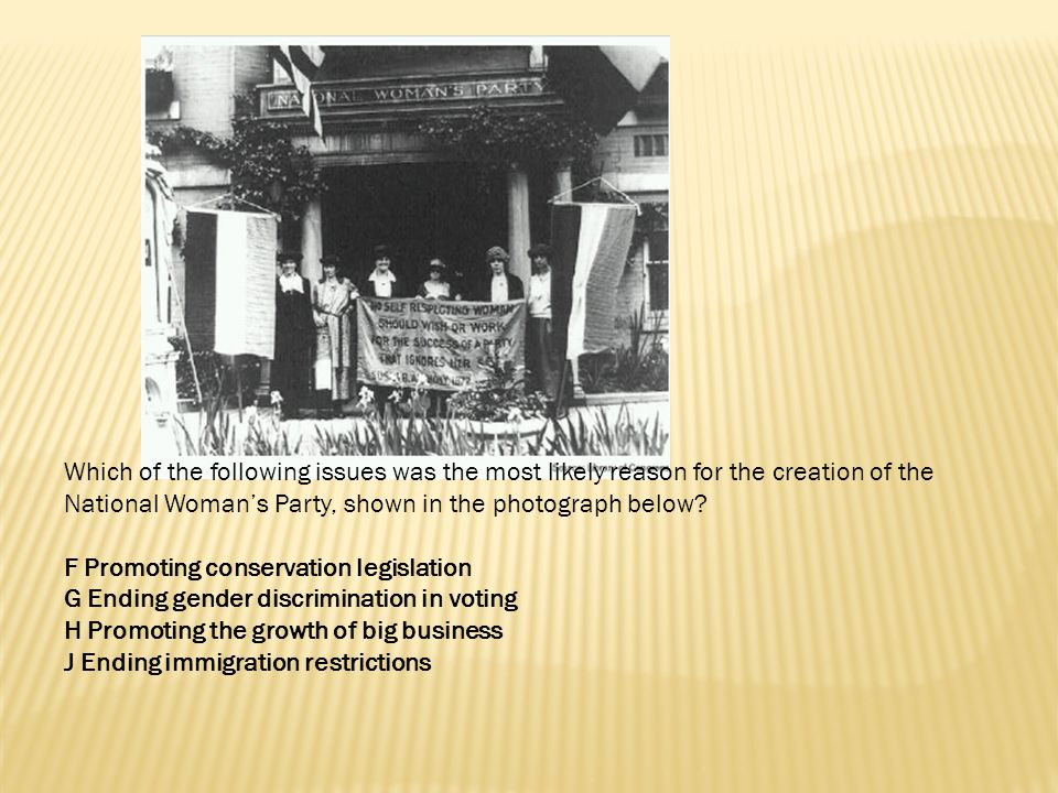 Which of the following issues was the most likely reason for the creation of the National Woman's Party, shown in the photograph below