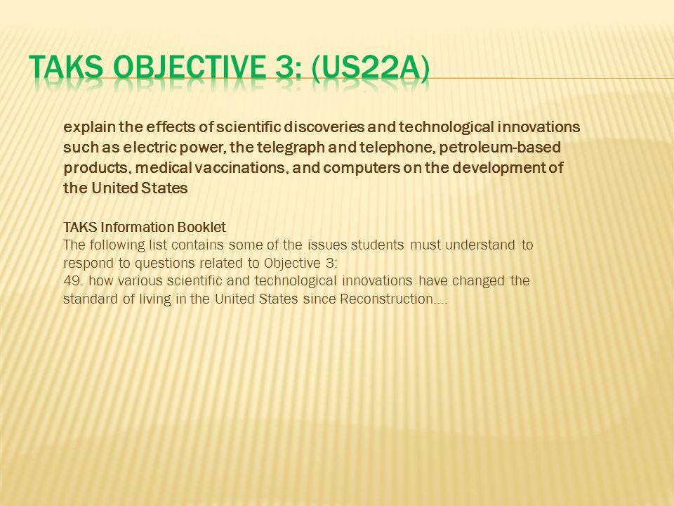 TAKS Objective 3: (US22A)