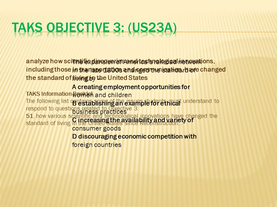 TAKS Objective 3: (US23A)