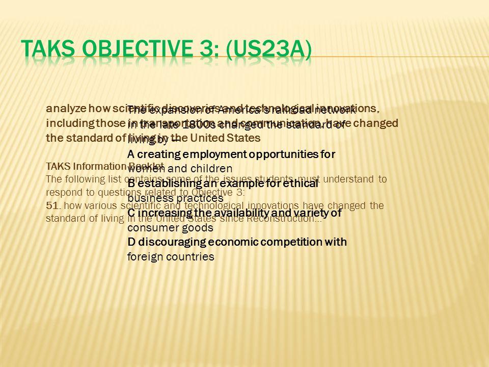 TAKS Objective 3: (US23A)