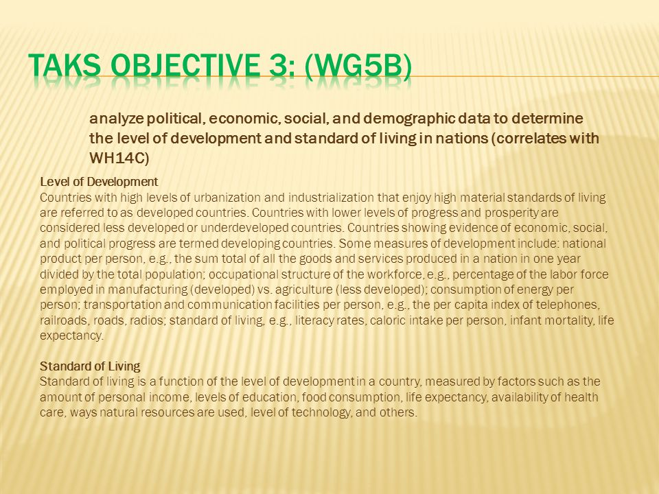 TAKS Objective 3: (WG5B)