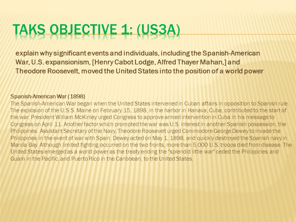 TAKS Objective 1: (US3A)