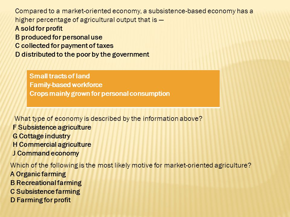 Compared to a market-oriented economy, a subsistence-based economy has a higher percentage of agricultural output that is —
