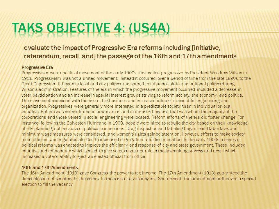 TAKS Objective 4: (US4A)