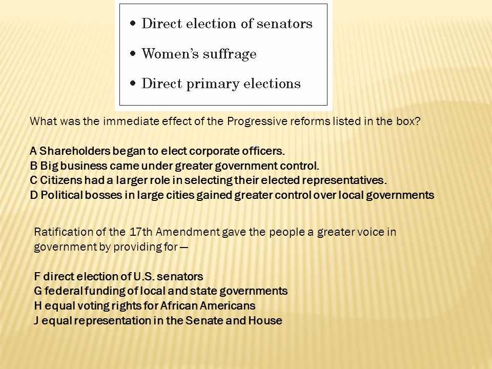 What was the immediate effect of the Progressive reforms listed in the box