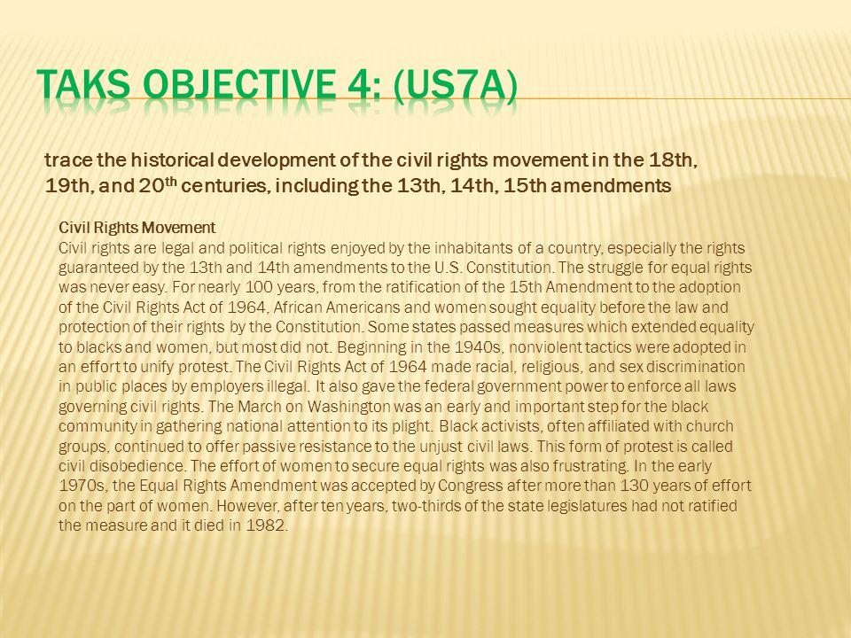 TAKS Objective 4: (US7A)