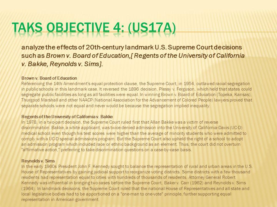 TAKS Objective 4: (US17A)