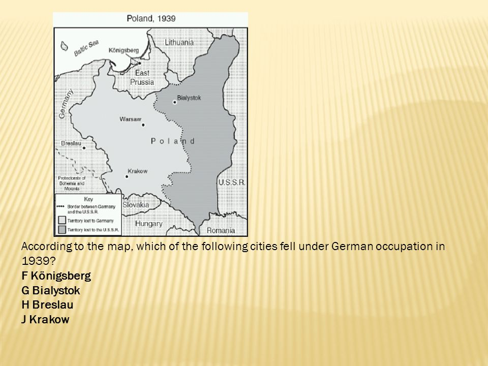 According to the map, which of the following cities fell under German occupation in 1939