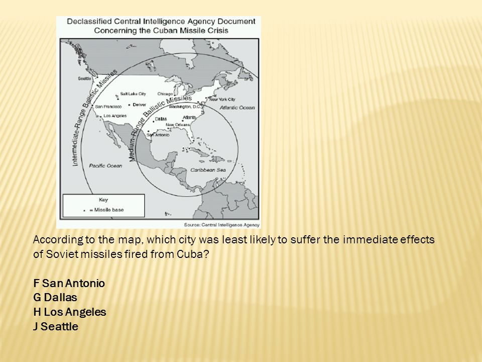 According to the map, which city was least likely to suffer the immediate effects of Soviet missiles fired from Cuba