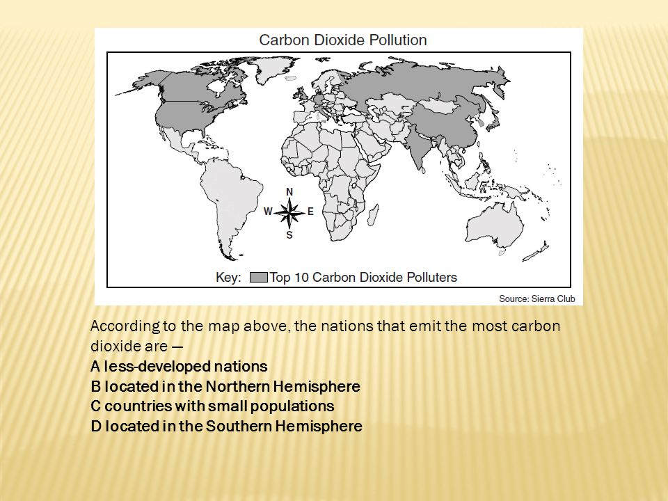 According to the map above, the nations that emit the most carbon dioxide are —