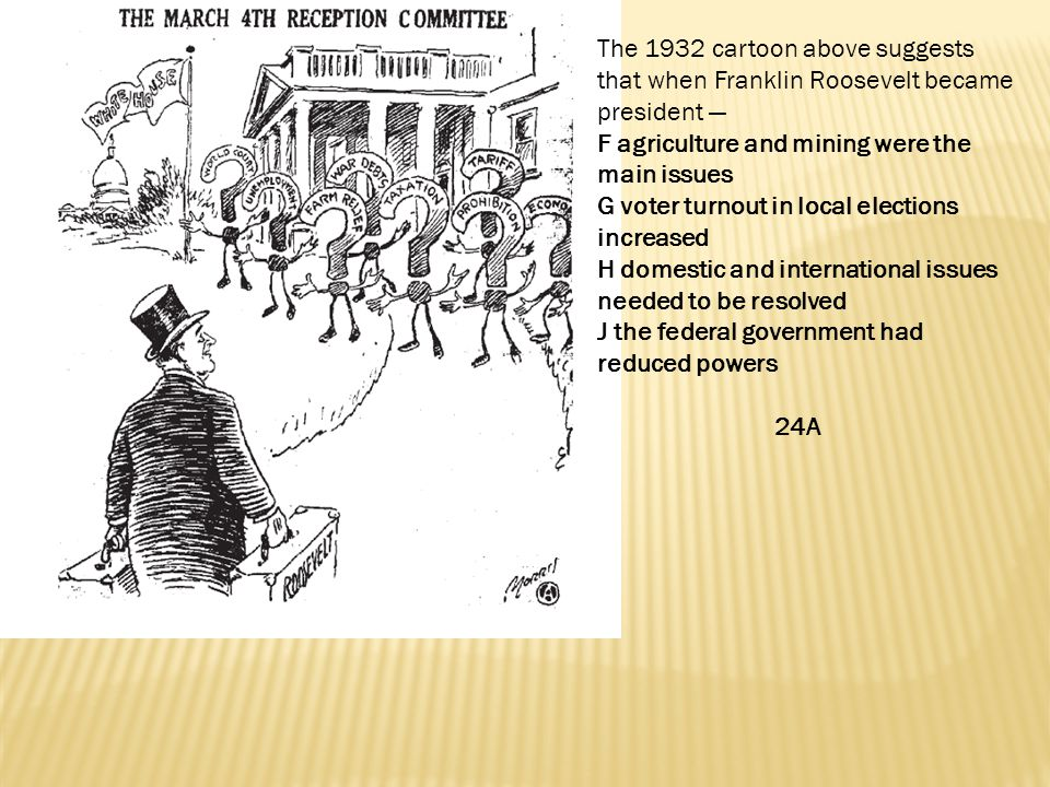 The 1932 cartoon above suggests that when Franklin Roosevelt became president —