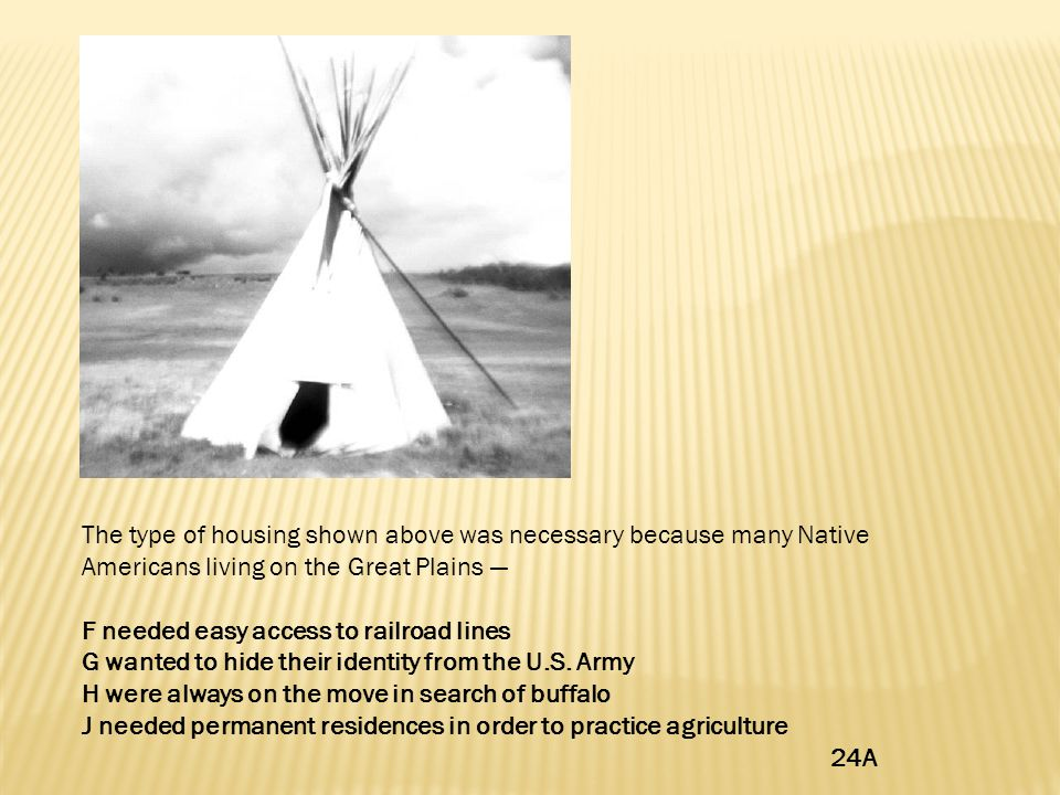 The type of housing shown above was necessary because many Native Americans living on the Great Plains —